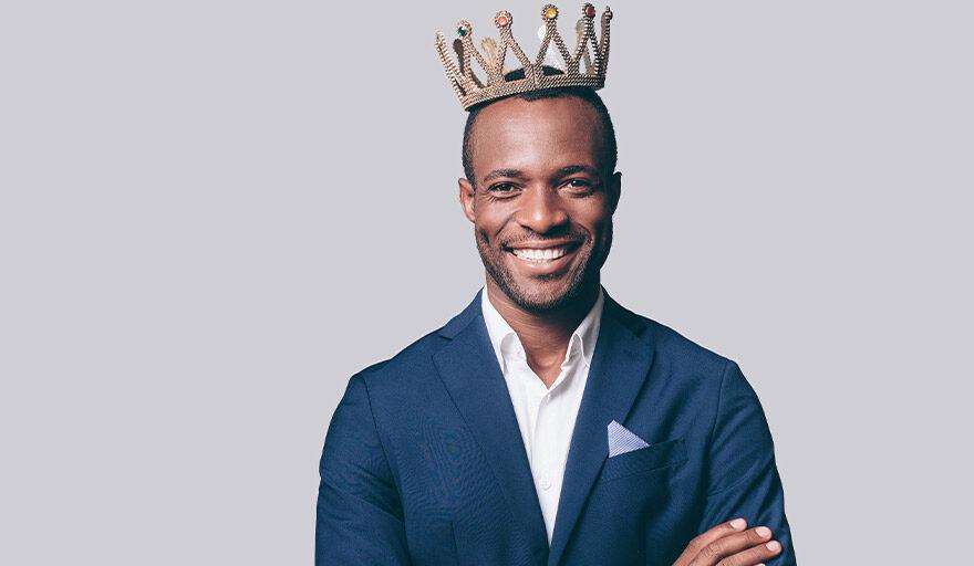 Man wearing a crown.