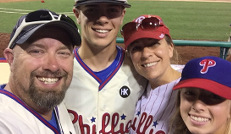 Cheryl with her family at a Philadelphia Phillies game