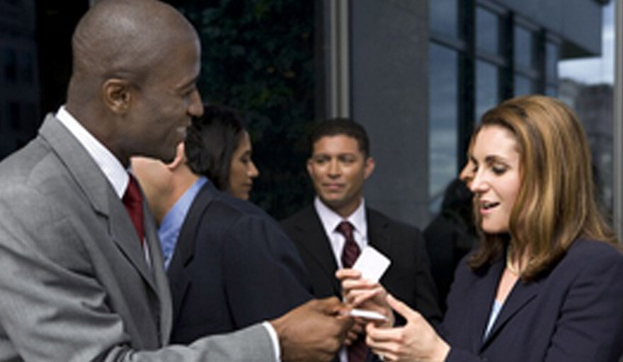 Group of people networking with each other