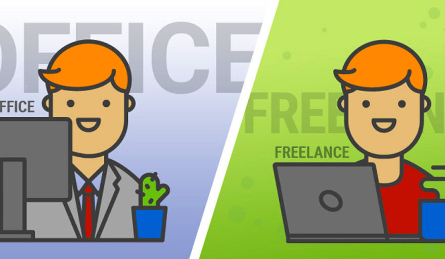 Cartoon person working in office vs. freelancing
