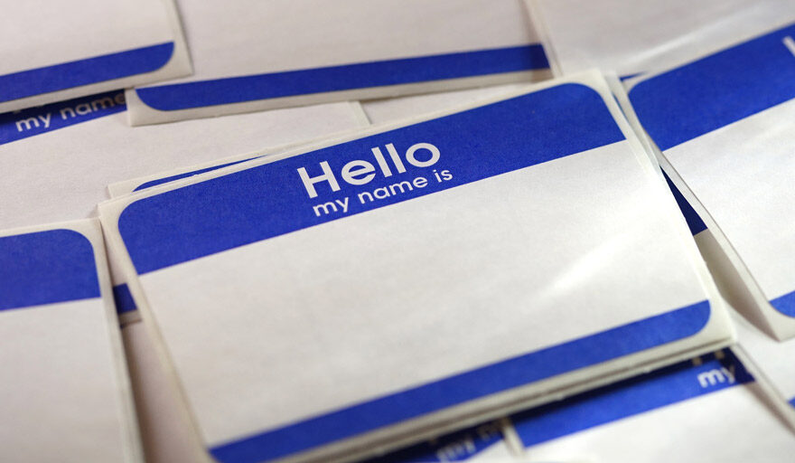 """A sticker that says """"hello my name is"""""""