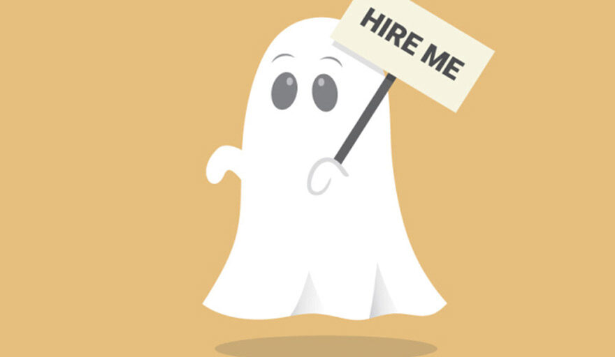 Ghost holding a sign that reads: hire me.