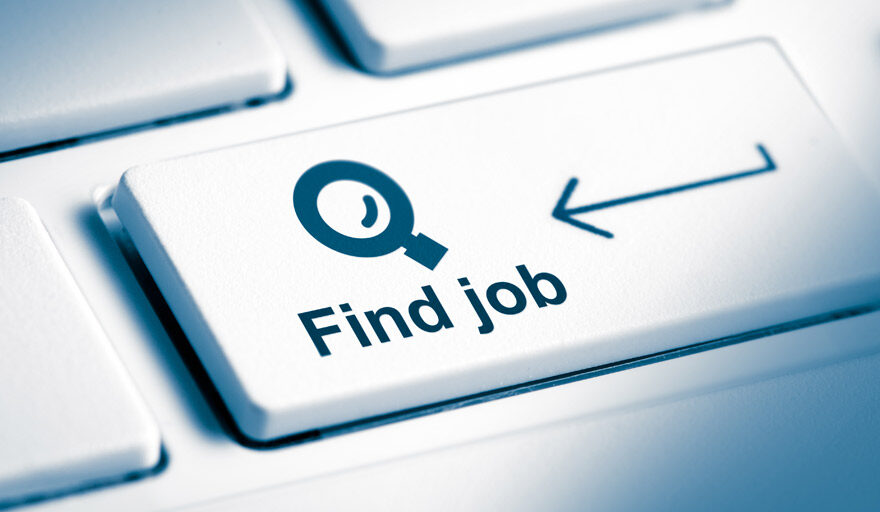 """Zoom in view on a keyboard with a button called """"find job"""""""