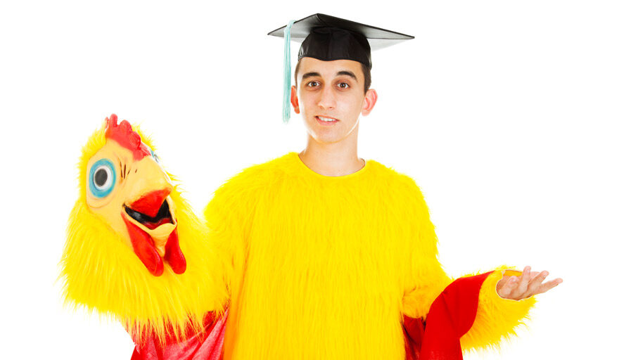 Person who graduated in a chicken suit