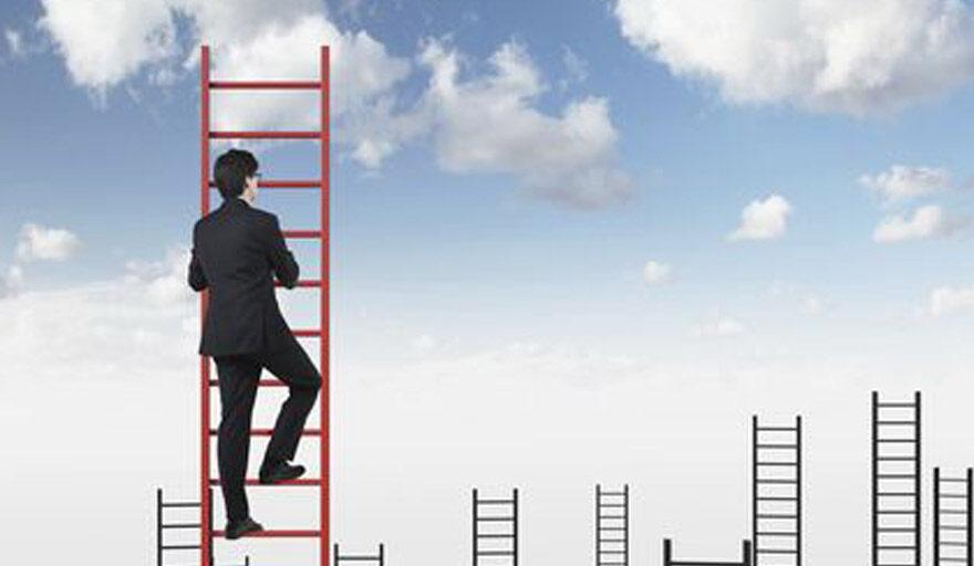Man climbing latter up into sky