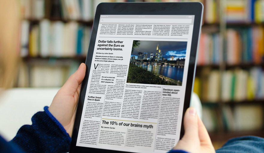 Career articles on a tablet
