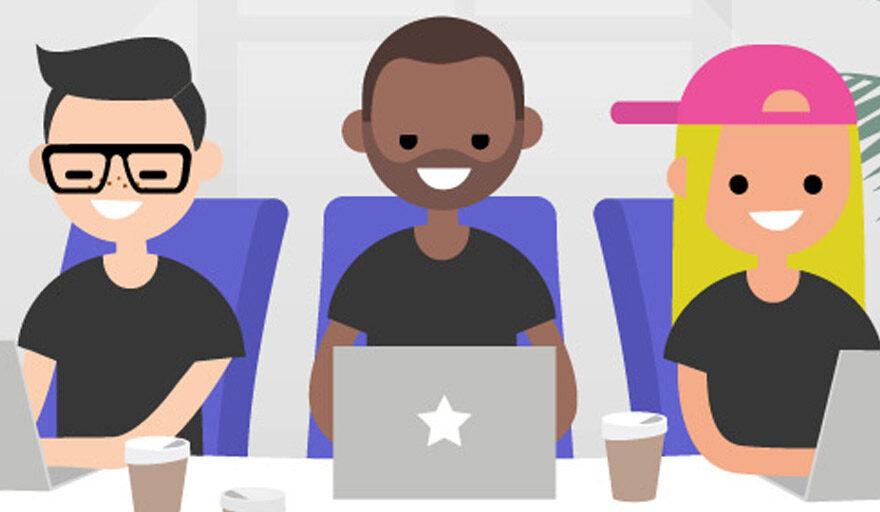 """Cartoon """"Gen-Z"""" working on laptops"""