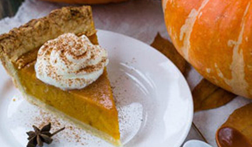 Pumpkin Pie sitting on a plate at the table