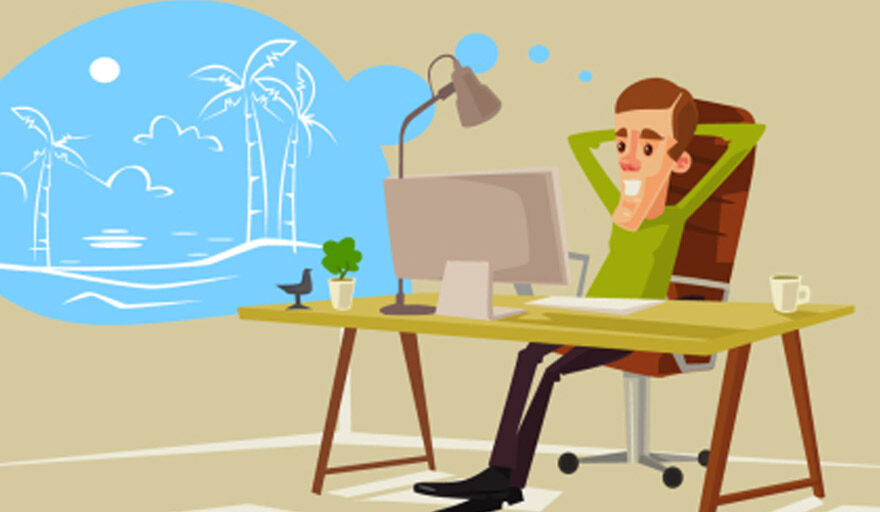 Cartoon man relaxing in office chair, dreaming of vacation